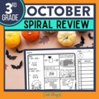 No Prep OCTOBER MATH Spiral Review for 3RD GRADE