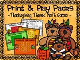 No Prep Print & Play Packs ~ Thanksgiving Themed Math Game