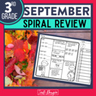 No Prep SEPTEMBER MATH Spiral Review for 3RD GRADE