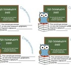 No homework pass (reward card, gift card)