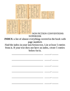 Non Fiction Conventions Activity Notebook