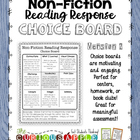 Non-Fiction Reading Response Choice Board - Version 2