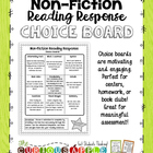 Non - Fiction Reading Response Choice Board {version 1}