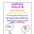 Non-Fiction Sticky Notes for Guided Reading/Independent Reading