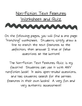 Non Fiction Text Features Pack--  A Bundle of My Best Activities!