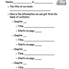 Non-fiction text features, Table of Contents worksheet