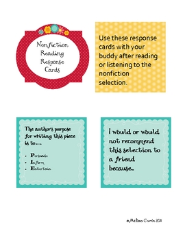 Nonfiction Reading Response Cards