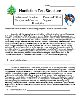 Nonfiction Text Structure Worksheet- December Holidays