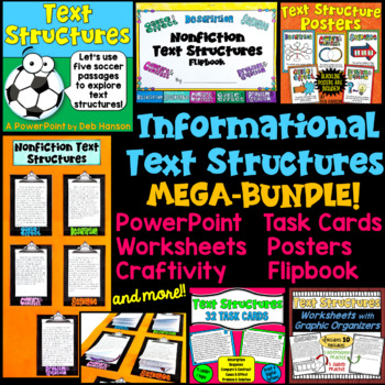 Nonfiction Text Structures BUNDLE (ppt, task cards, craftivity, worksheets, etc)