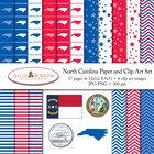 North Carolina Clip Art, Digital Paper - Flag, Seal, Quart