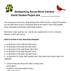 North Carolina State Symbols and Landmark Project-Backpack