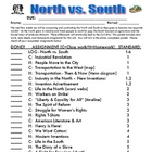 North vs. South PACKET - Class &amp; Homework