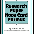 Note Card Format for Research Papers (Handout)