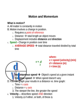 Notes for Motion, Acceleration, and Momentum