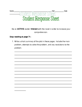 Nothing But the Truth response sheet pages 48-71