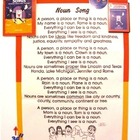 Noun Song Poster from Grammar Songs by Kathy Troxel/Audio Memory