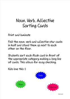 Noun Verb Adjective Stand Up Cards