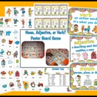 Noun, Verb, and Adjective Poster Board Game Literacy Center