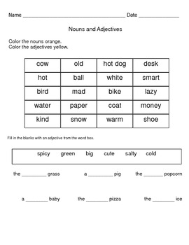 Nouns and Adjectives Review Worksheets