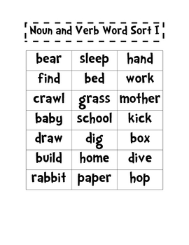 Nouns and Verbs Word Sort I and II