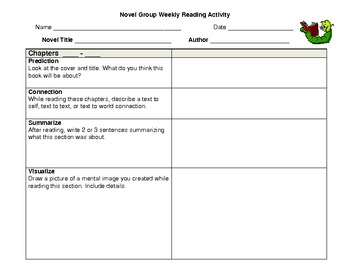 Novel Group Weekly Reading Activity & Rubric