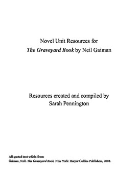 Novel Unit for The Graveyard Book by Neil Gaiman