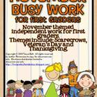 November Busy Work Pack for First Graders