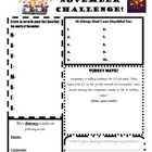 November Challenge Worksheet--Transition Activity