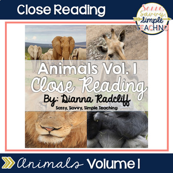 November Close Reads: Animals Vol. I {CCSS Aligned}