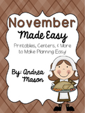 November Made Easy!  Printables, Centers, and More to Make