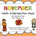 November Math Intervention Pack!
