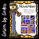 November Math &amp; Literacy Color by Codes