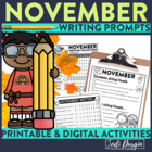 November Mega-Writing Packet {Task Card Prompts, Posters,