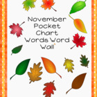 November Pocket Chart Words Word Wall