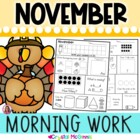 Kindergarten Morning Work! November Thanksgiving Common Co