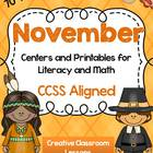 November Centers and Printables for Literacy and Math-Than