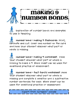Number Bonds - Making 9