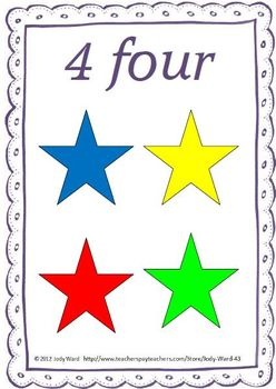Number Cards 1-10 Number Numeral Amount Star theme