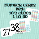 Number Cards with Ten's Cubes for Visual Supports 1-50