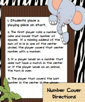 Number Cover Math Center Games for differentiation