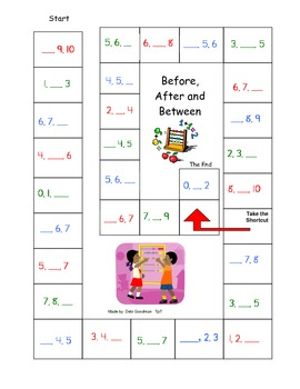 Number Game Board  0-10 Before After and Between with out