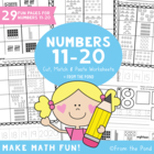 Number Match Cut & Paste Worksheets - Learning Numbers 11 to 20