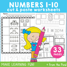 Number Match Worksheets - Cut &amp; Paste Kindergarten