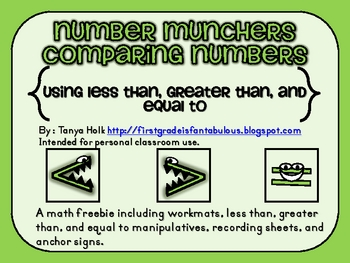Number Munchers Comparing Numbers {FREEBIE}