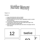 Number / Number Word Memory