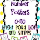 Number Posters 0-20 {Bright Polka Dots and Stripes}