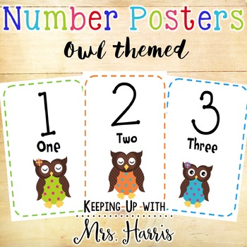 Number Posters 1-30 Owls