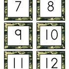 Number Recognition Activity: 0-50 Number Cards: Army Camou