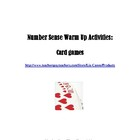 Number Sense Warm Up Activities: Card Games