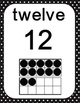 Number Ten Frames 0 to 20 - Polka Dots in Black